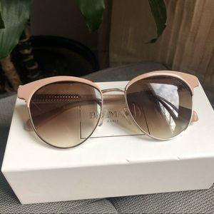 BALMAIN Beige and Gold Sunglasses, New